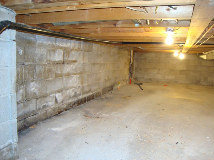 Removed shelf in crawlspace