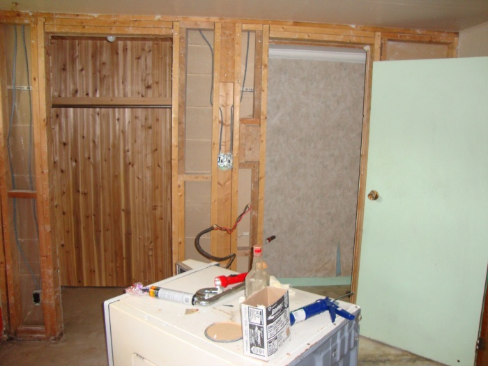 Old dryer and closet/washroom to be removed