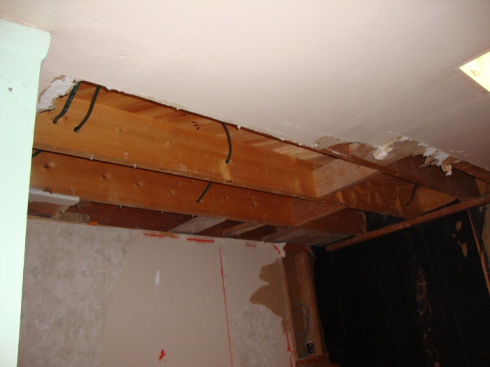 some ceiling drywall removed