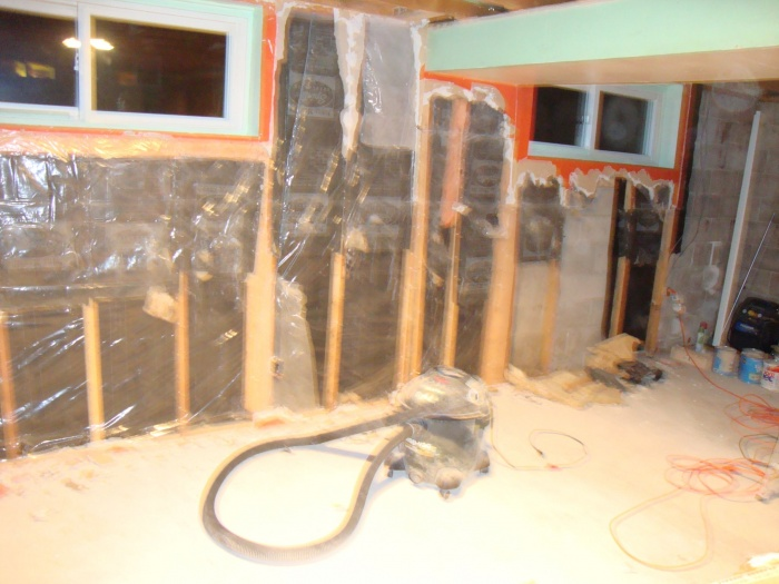 Removed drywall on other wall