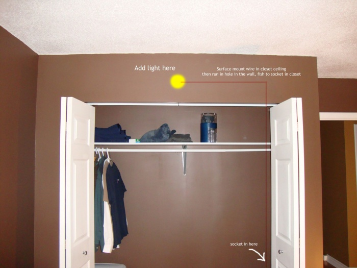 Closet where light is to be installed